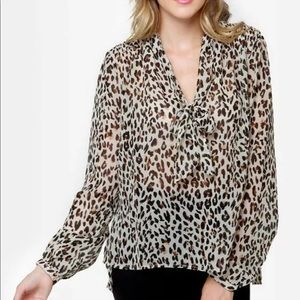 Obey Day Dreamer Sheer Animal Print Blouse Top
